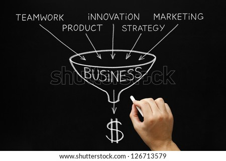 Hand drawing Business concept with white chalk on a blackboard. - stock photo