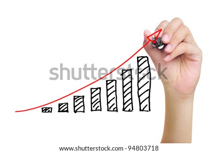 hand drawing business graph - stock photo