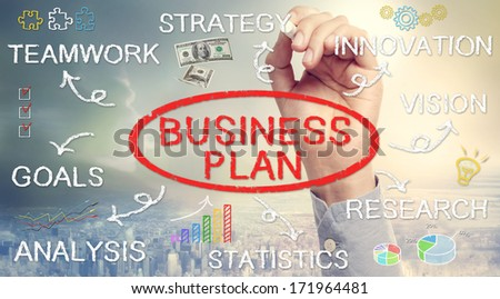 Hand drawing Business Plan flowchart with chalk - stock photo