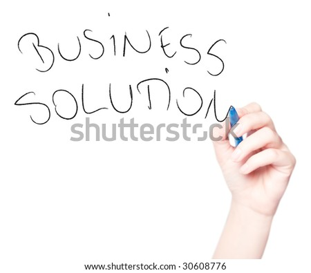 "Hand drawing ""Business Solution"" in whiteboard isolated on white - stock photo"