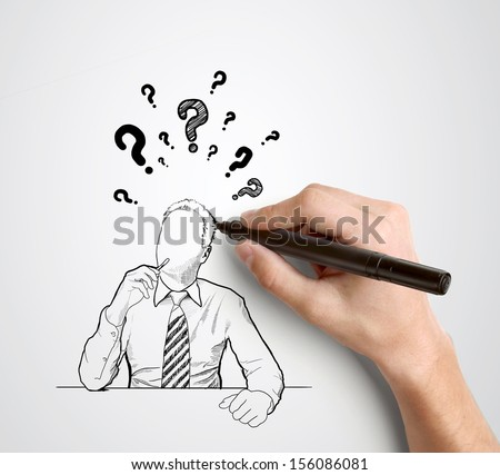 hand drawing businessman with question mark over head - stock photo