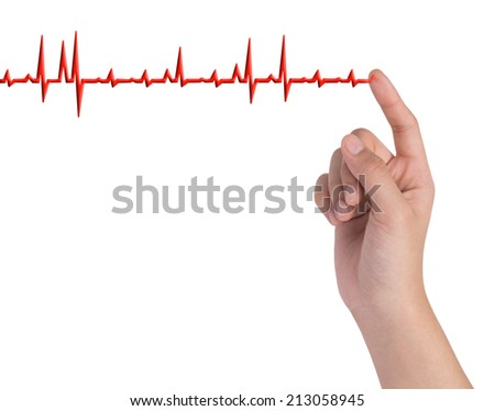 hand drawing chart electrocardiogram (ECG) of ratio heartbeat on virtual screen concept for medical diagnosis  - stock photo