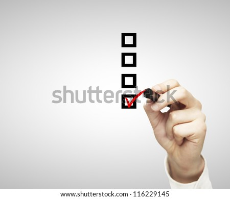 hand drawing check box on a white background - stock photo