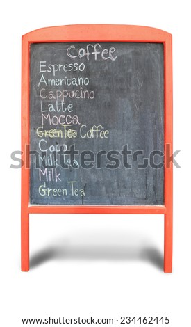 Hand drawing coffee menu on black board at a coffee shop or restaurant isolated on white  background with space for text . - stock photo