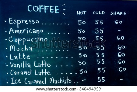 Hand drawing coffee price on blackboard.