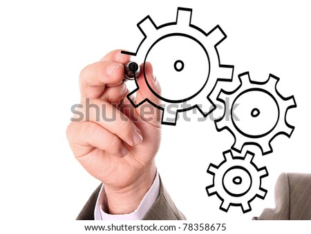 Hand drawing cogwheels - stock photo