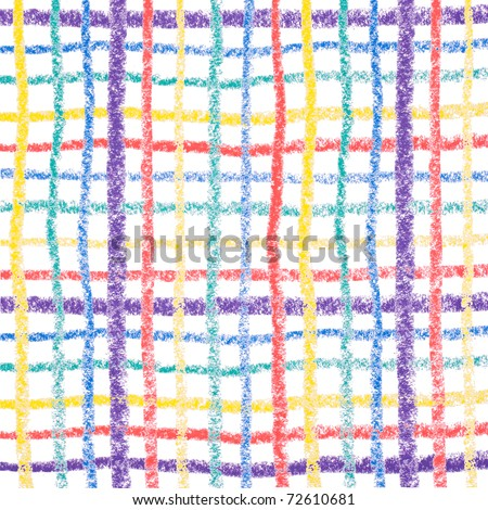 Hand drawing colorful crayon lines, isolated on white background - stock photo