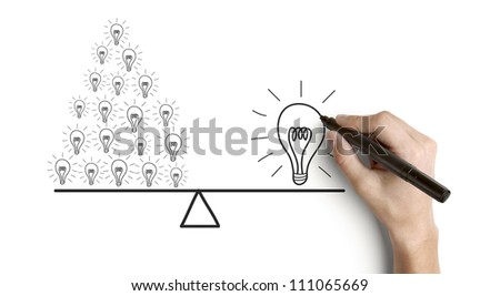 hand drawing concept success on a white background - stock photo