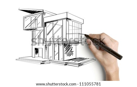 hand drawing cottage on a white background - stock photo