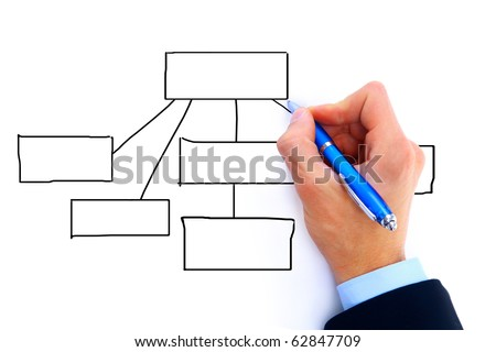 Hand drawing diagram isolated on white background - stock photo
