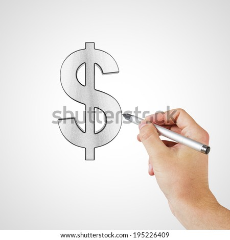 hand drawing dollar symbol on a white background