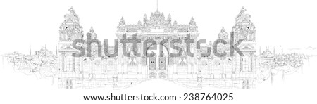 hand drawing dolmabahce palace istanbul - stock photo