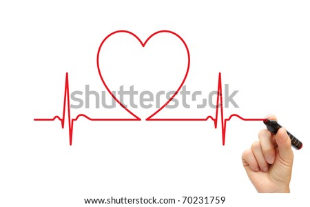 Hand drawing ECG line - stock photo