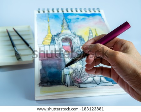 Hand drawing exterior perspective view