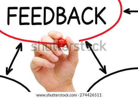 Hand drawing Feedback flow chart on transparent wipe board. - stock photo