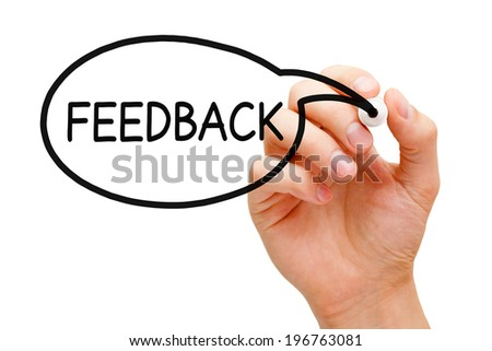Hand drawing Feedback speech bubble concept with black marker. - stock photo