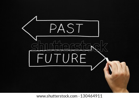 Hand drawing Future concept with white chalk on a blackboard. Choosing Future instead of Past. - stock photo