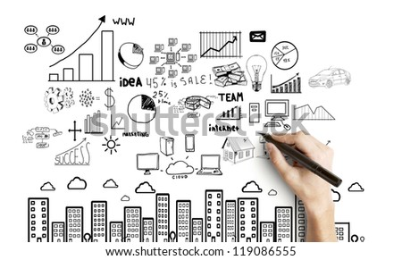 hand drawing global concept  on white  background - stock photo
