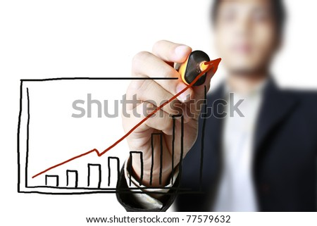 hand drawing graph in a whiteboard - stock photo