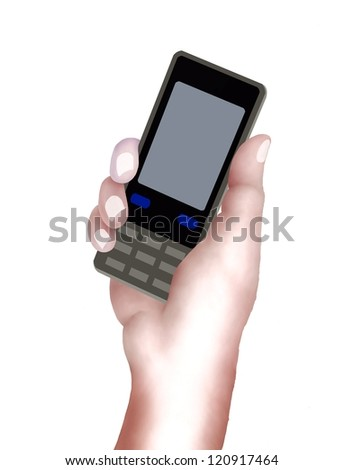 Hand Drawing, Hands Holding Cellular Phone or Mobile Smart Phone and Preparing for Connecting People