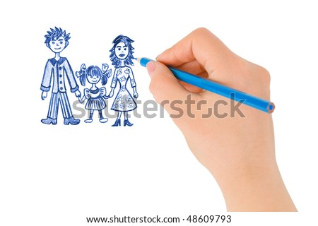 Hand drawing happy family isolated on white background - stock photo