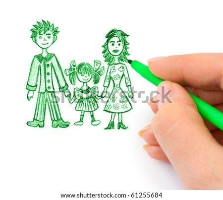 Hand drawing happy family (my original picture) isolated on white background - stock photo