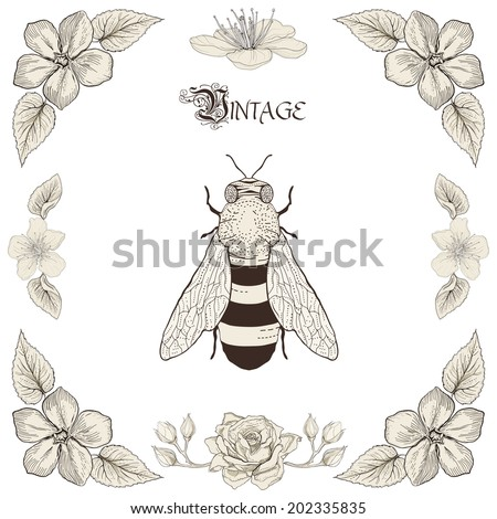 Hand drawing honey bee flowers and leaves decorative floral frame Vintage engraving style invitation. Raster copy - stock photo