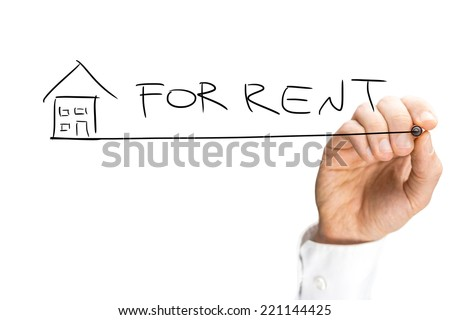 Hand Drawing House For Rent Design Isolated on White Background. - stock photo
