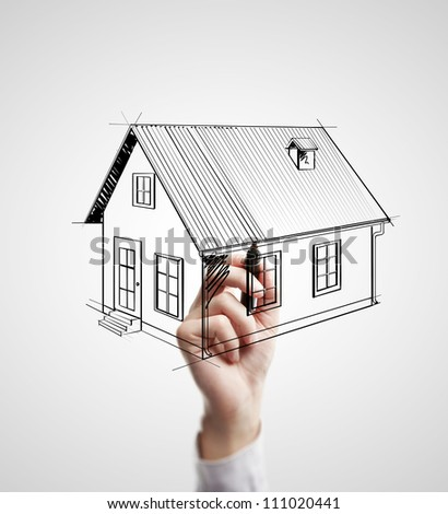 hand drawing house on a white background - stock photo