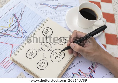 Hand Drawing Human Relation Idea Sketch with Coffee - stock photo