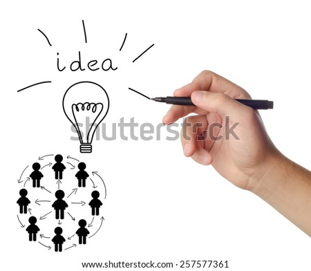 Hand drawing idea of social network structure on white background  - stock photo