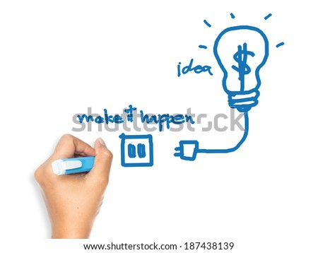 Hand drawing image as symbol of Making idea for business happen concept on whiteboard - stock photo