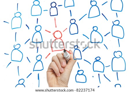 hand drawing individuality concept on whiteboard - stock photo
