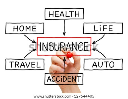 Hand drawing Insurance flow chart on transparent wipe board. - stock photo