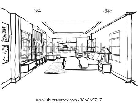 interior design bedroom drawings. Hand Drawing Interior Design For Modern Bedroom, Raster Image Bedroom Drawings