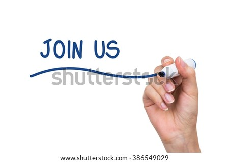 Hand drawing Join Us words. Subscribe conception on virtual whiteboard - stock photo