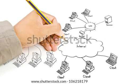 Hand drawing LAN diagram on the whiteboard. - stock photo