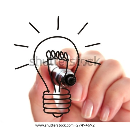 Hand drawing light bulb - stock photo