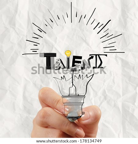 hand drawing light bulb and TALENT word design as concept - stock photo