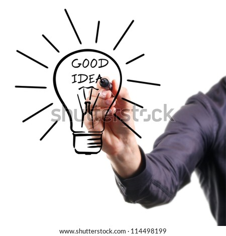 hand drawing light bulb - good idea concept - stock photo