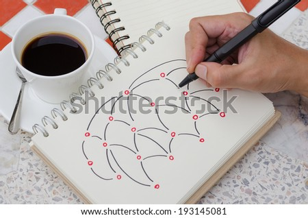 Hand Drawing Light bulb Idea Sketch with Coffee  - stock photo