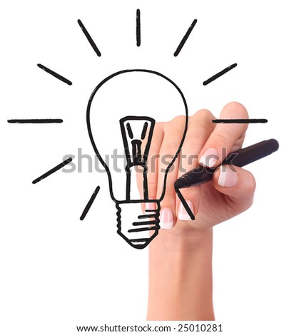 Hand drawing light bulb, isolated on white - Ecology/Business concept - stock photo