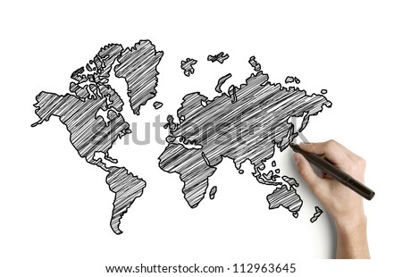 hand drawing map on paper - stock photo