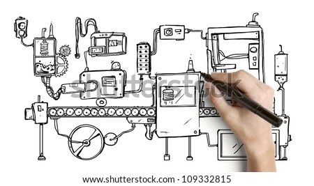 Hand drawing mechanism on a white background - stock photo