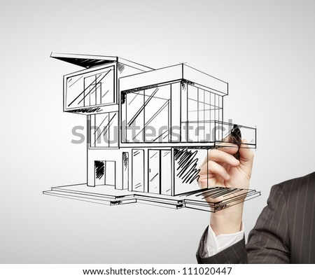 Hand Drawing Modern House On White Stock Photo 111020447