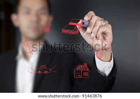 Hand drawing money - stock photo