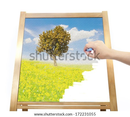 hand drawing nature on board - stock photo