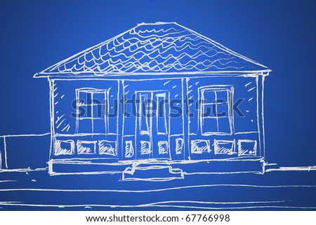 Hand drawing of an blue print house - stock photo