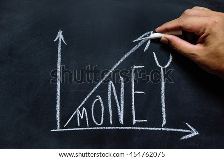 hand drawing of chart success money on the blackboard