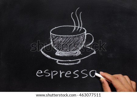 hand drawing of coffee on the blackboard
